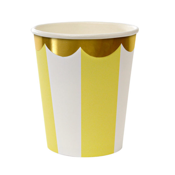 bicchiere raggi giallo stripe yellow meri meri 125245